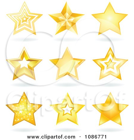 Clipart Golden Star And Shadow Icons - Royalty Free Vector Illustration by yayayoyo