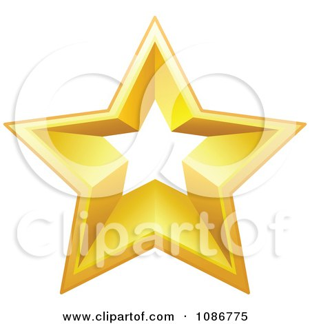 Clipart Golden Star With A Cut Out Center 1 - Royalty Free Vector Illustration by yayayoyo