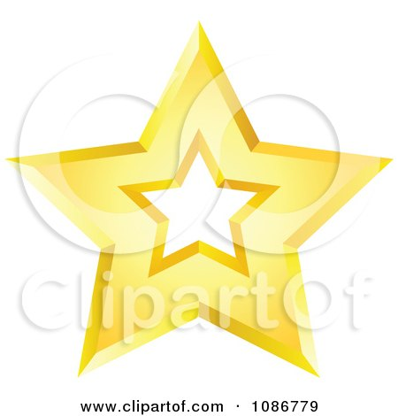 Clipart Golden Star With A Cut Out Center 3 - Royalty Free Vector Illustration by yayayoyo