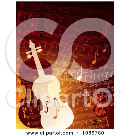 Clipart Orange And Red Sheet Music And Violins - Royalty Free Vector Illustration by Eugene