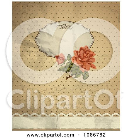 Vintage Victorian Rose Background With Copyspace Writing And Dots Posters, Art Prints