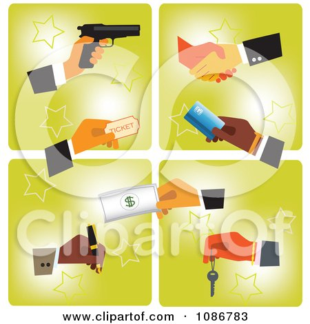 Clipart Business Hands With A Gun Ticket Card Cash Pen Key And Shaking - Royalty Free Vector Illustration by Eugene