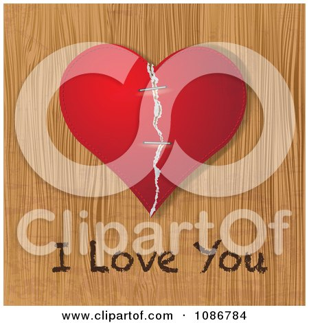 Clipart 3d Red Torn And Stapled Heart On Wood With I Love You Writing - Royalty Free Vector Illustration by Eugene