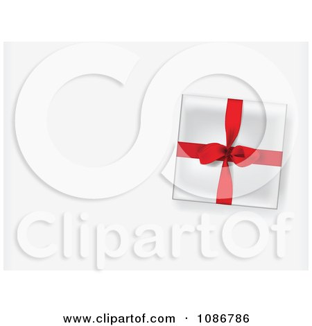 Clipart 3d Gift Box With A Red Ribbon On A Shaded Background With Copyspace - Royalty Free Vector Illustration by Eugene