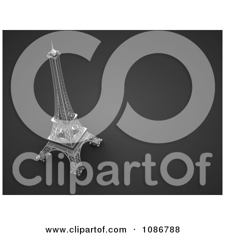 Clipart 3d Gray Eiffel Tower Background With Text Space - Royalty Free CGI Illustration by chrisroll