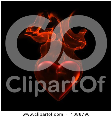 Clipart 3d Heart Engulfed In Flames Over Black - Royalty Free CGI Illustration by chrisroll