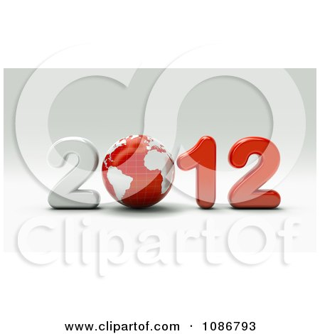 Clipart 3d White And Red 2012 With A Globe - Royalty Free CGI Illustration by chrisroll