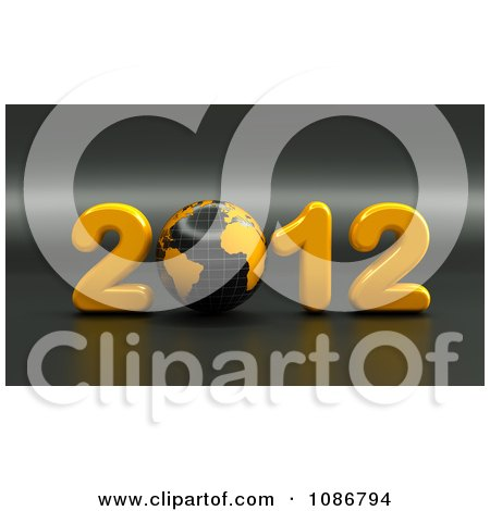 Clipart 3d Black And Yellow 2012 With A Globe - Royalty Free CGI Illustration by chrisroll