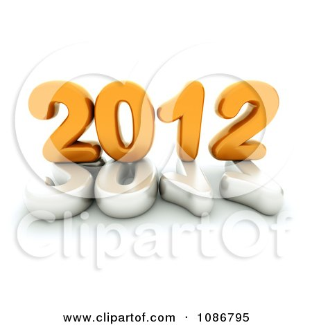 Clipart 3d White And Yellow 2012 With A Globe - Royalty Free CGI Illustration by chrisroll