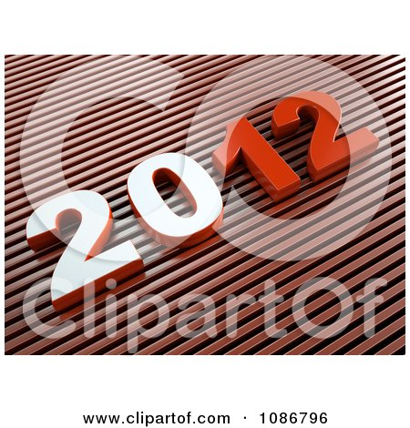 Clipart 3d Red 2012 On Diagonal Stripes - Royalty Free CGI Illustration by chrisroll