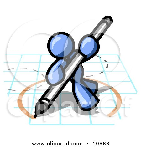 Blue Man Holding a Pencil and Drawing a Circle on a Blueprint Clipart Illustration by Leo Blanchette