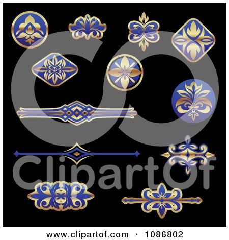 Clipart Gold And Blue Flourish Rule And Border Design Elements - Royalty Free Vector Illustration by Vector Tradition SM