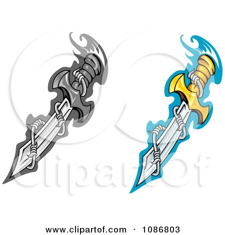 Clipart Dagger Blades With Barbed Wire - Royalty Free Vector Illustration by Vector Tradition SM