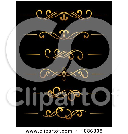 Clipart Golden Flourish Rule And Border Design Elements 2 - Royalty Free Vector Illustration by Vector Tradition SM
