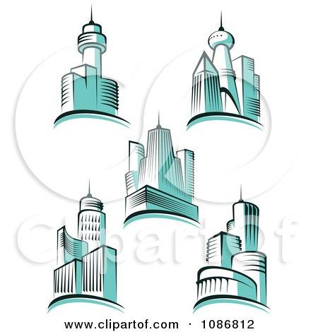 Clipart Blue City Skyscraper Buildings - Royalty Free Vector Illustration by Vector Tradition SM