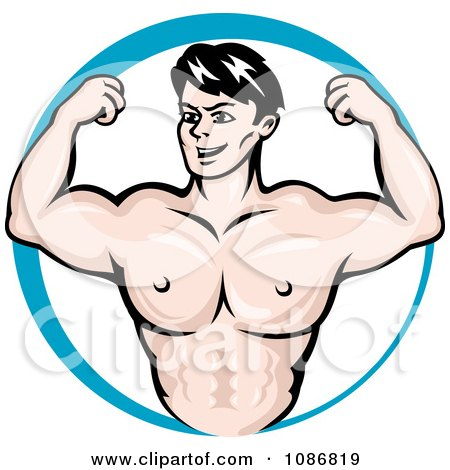 Clipart Strong Man Bodybuilder In A Blue Circle - Royalty Free Vector Illustration by Vector Tradition SM