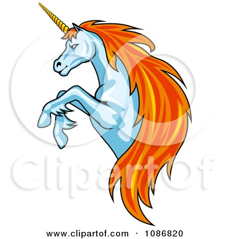 Clipart Rearing Unicorn With Orange Hair - Royalty Free Vector Illustration by Vector Tradition SM