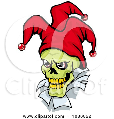 Clipart Green Faced Joker With A Red Hat - Royalty Free Vector Illustration by Vector Tradition SM