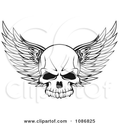 Winged Skull Black And White Posters, Art Prints