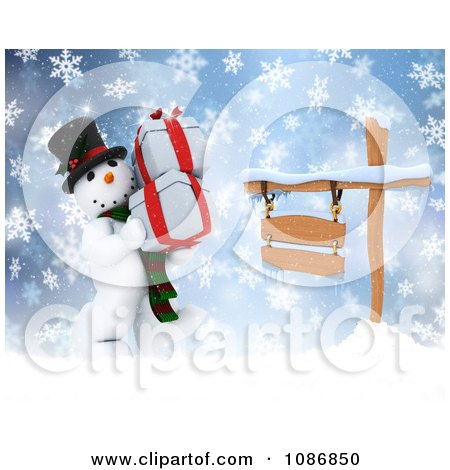Clipart 3d Christmas Snowman Carrying Gifts By A Sign In The Snow - Royalty Free CGI Illustration by KJ Pargeter