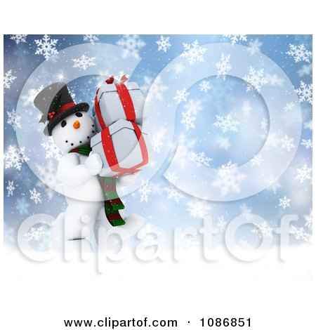 Clipart 3d Christmas Snowman Carrying Presents In The Snow - Royalty Free CGI Illustration by KJ Pargeter