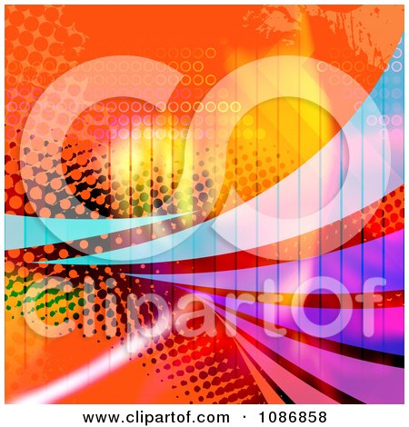 Clipart Orange Halftone Background With Colorful Swooshes - Royalty Free CGI Illustration by Arena Creative