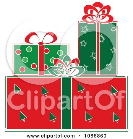 Clipart Festively Wrapped Christmas Gifts - Royalty Free Vector Illustration by Pams Clipart