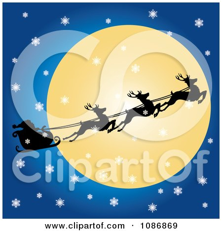 Clipart Flying Reindeer And Santas Sleigh Against The Moon On A Snowy Christmas Eve - Royalty Free Vector Illustration by Pams Clipart
