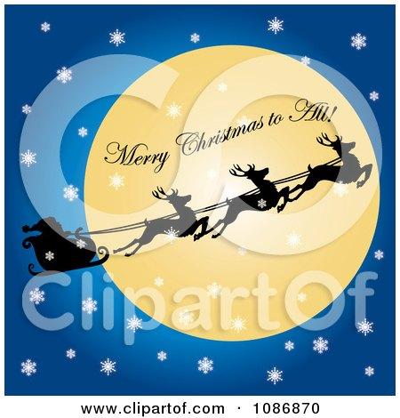 Clipart Merry Christmas To All On The Moon With Flying Reindeer And Santas Sleigh On A Snowy Christmas Eve - Royalty Free Illustration by Pams Clipart