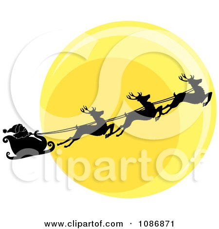 Clipart Silhouetted Santa Sleigh And Flying Reindeer Against The Christmas Eve Moon - Royalty Free Vector Illustration by Pams Clipart