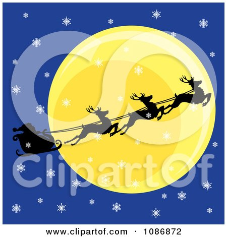 Clipart Silhouetted Flying Reindeer And Santas Sleigh Against The Moon On A Snowy Christmas Eve - Royalty Free Vector Illustration by Pams Clipart