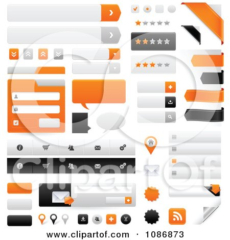 Clipart Orange Gray And Black Website Navigation Design Elements - Royalty Free Vector Illustration by TA Images
