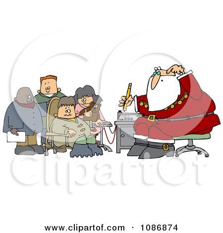 Clipart Group Of Kids Waiting For Santas Lie Detector Test - Royalty Free Vector Illustration by djart