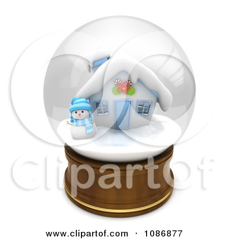 Clipart 3d Snowman And House In A Snow Globe - Royalty Free CGI Illustration by BNP Design Studio