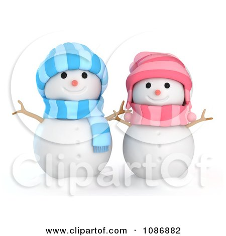 Clipart 3d Girl And Boy Snowmen Royalty Free Cgi