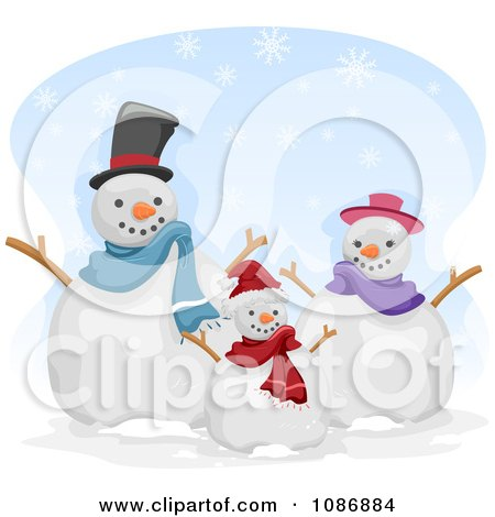 Clipart Snowman Family Holding Their Arms Up - Royalty Free Vector Illustration by BNP Design Studio