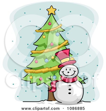 Clipart Winter Snowman By A Christmas Tree - Royalty Free Vector Illustration by BNP Design Studio