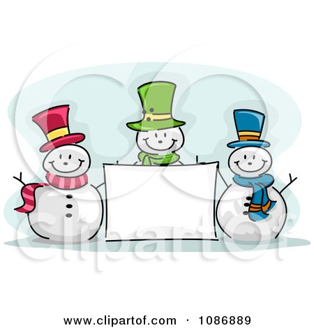 Clipart Three Winter Snowmen With A Blank Sign - Royalty Free Vector Illustration by BNP Design Studio