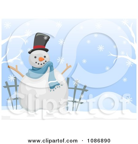 Clipart White Christmas Winter Snowman Background - Royalty Free Vector Illustration by BNP Design Studio