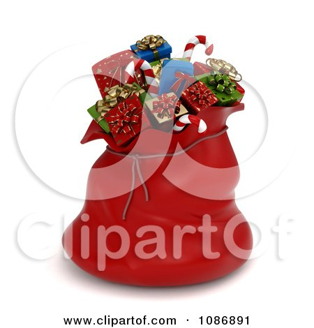 Clipart 3d Red Santa Sack Full Of Christmas Gifts - Royalty Free CGI Illustration by BNP Design Studio