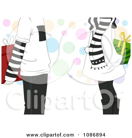 Clipart Boy And Girl Holding Christmas Gifts Behind Their Backs With Copyspace And Dots - Royalty Free Vector Illustration by BNP Design Studio