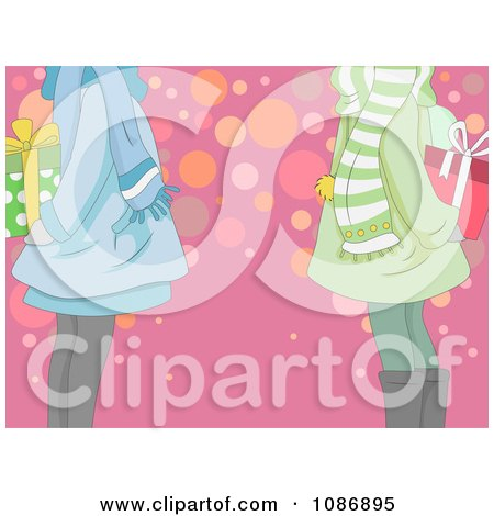 Clipart Girls Holding Christmas Gifts For An Exchange Behind Their Backs - Royalty Free Vector Illustration by BNP Design Studio