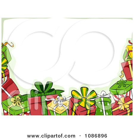 Border Of Christmas Gifts And Green Preview Clipart
