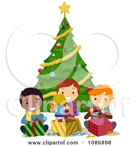 Clipart Friends Opening Their Christmas Presents By A Tree - Royalty Free Vector Illustration by BNP Design Studio