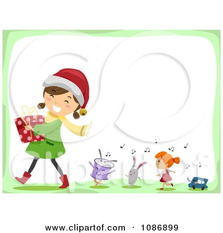 Clipart Happy Girl Carrying A Christmas Gift Followed By Singing Toys - Royalty Free Vector Illustration by BNP Design Studio