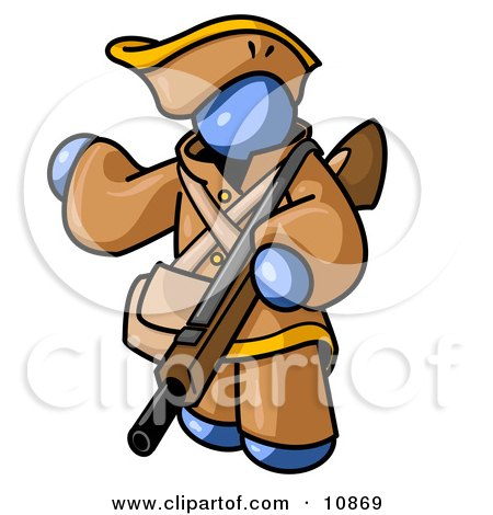 Blue Man in Hunting Gear, Carrying a Rifle Clipart Illustration by Leo Blanchette