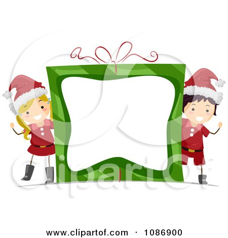 Clipart Christmas Boy And Girl Wacing Around A Gift Frame - Royalty Free Vector Illustration by BNP Design Studio