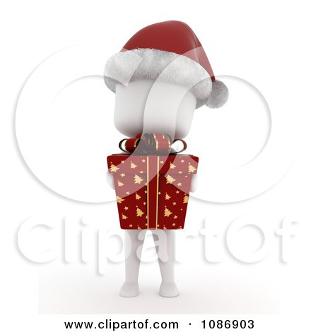 Clipart 3d Ivory Kid Wearing A Santa Hat And Holding A Christmas Gift - Royalty Free CGI Illustration by BNP Design Studio