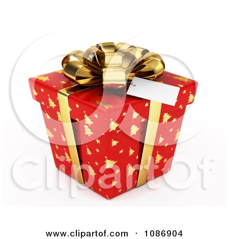 Clipart 3d Red Gift Box With Gold Christmas Tree Patterns And A Bow - Royalty Free CGI Illustration by BNP Design Studio