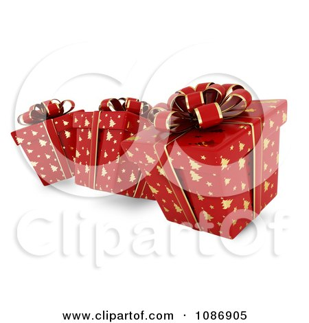 Clipart 3d Red Gift Boxes With Gold Christmas Tree Patterns And Bows - Royalty Free CGI Illustration by BNP Design Studio